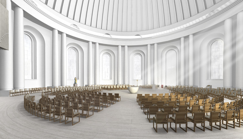 Modellentwurf für den Innenraum der St.-Hedwigs-Kathedrale in Berlin