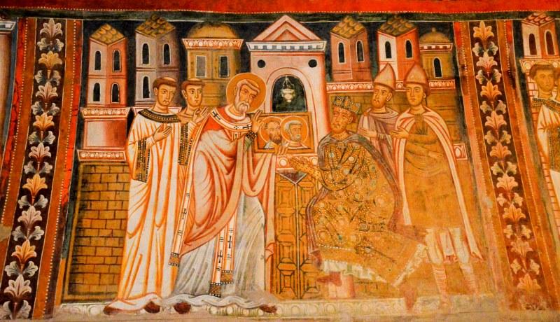Fresko in der Silvester-Kapelle, Santi Quattro Coronati in Rom: Silvester zeigt dem kranken Kaiser die Porträts von Petrus und Paulus