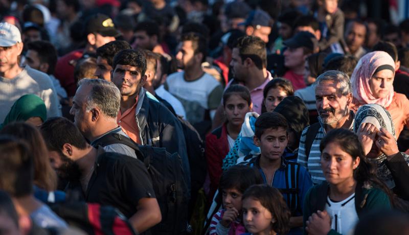 Flüchtlinge im September 2015 an der Grenze zwischen Deutschland und Österreich.