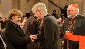 Angela Merkel mit Kardinal Karl Marx und Heinrich Bedford-Strohm