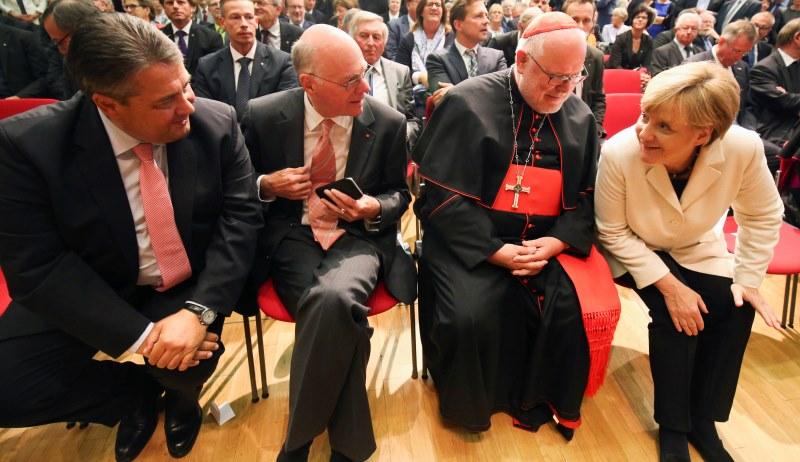 Angela Merkel, Reinhard Kardinal Marx, Sigmar Gabriel und Nobert Lammert beim Michaelsempfang
