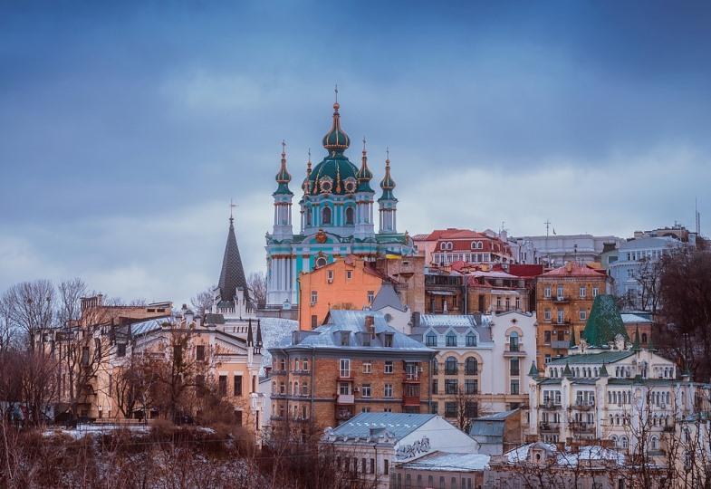 Blick auf eine orthodoxe Kirche in Kiew