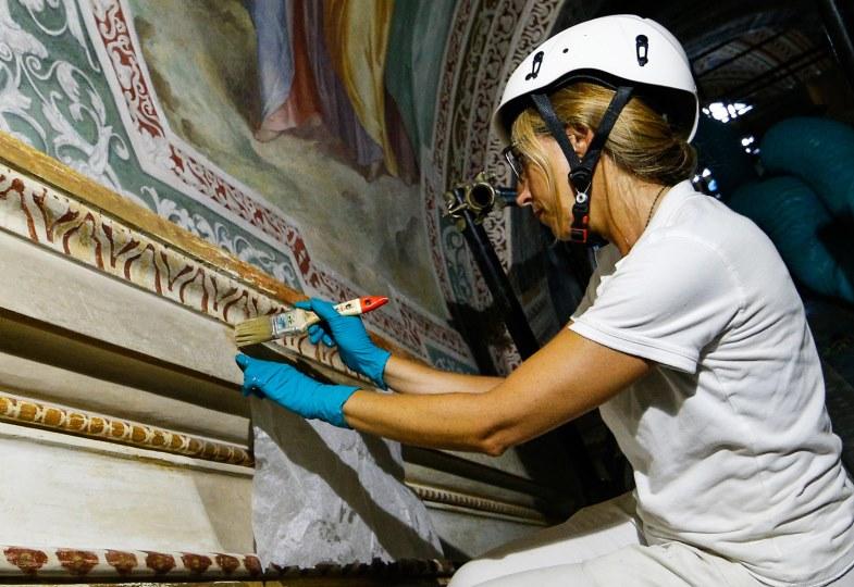 Die Fresken der Scala Santa in Rom werden restauriert.