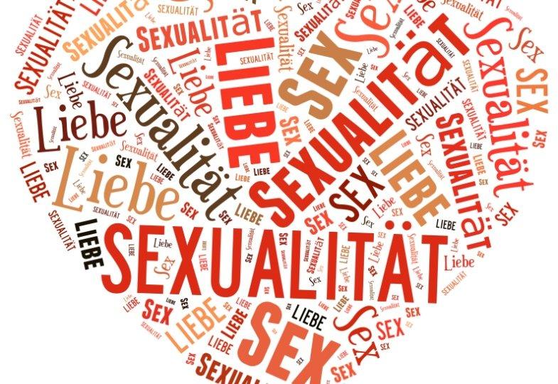 Eine Word Cloud aus den Begriffen Liebe, Sex und Sexualität.