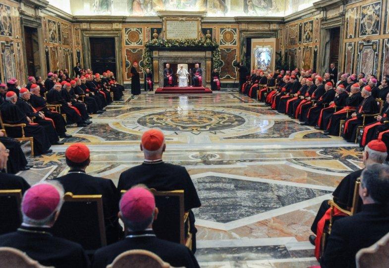 Papst Franziskus bei seiner Weihnachtsansprache vor der Kurie im Dezember 2017.
