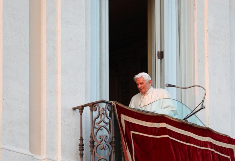 Papst Benedikt XVI. am Tag seines Rücktritts am 28. Februar 2013 in Castel Gandolfo.