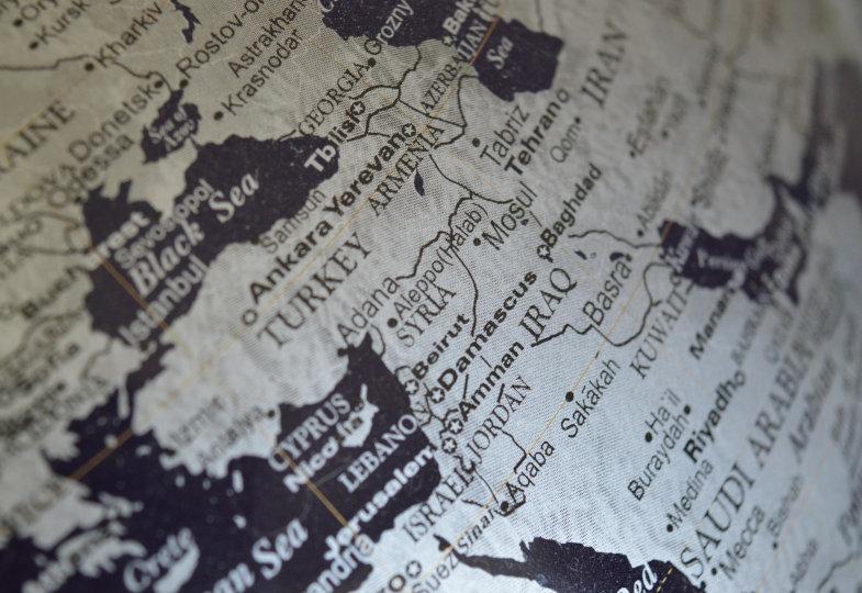 Weltkarte Ausschnitt Naher Osten