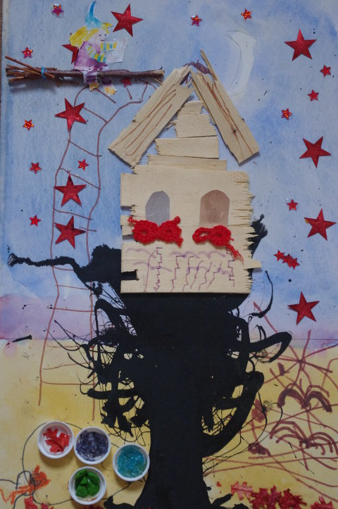 Kreative Idee mit Obstkisten: Baumhaus der kleinen Hexe