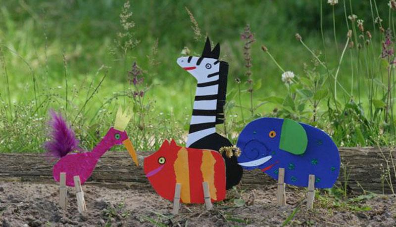 Basteln mit Wäscheklammern: Fantasie-Zoo