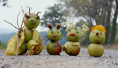 Figuren aus Naturmaterialien: Fallobstbande