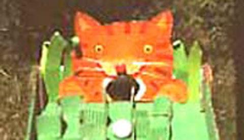 Geschicklichkeitsspiel aus Pappe: Hungrige Katze