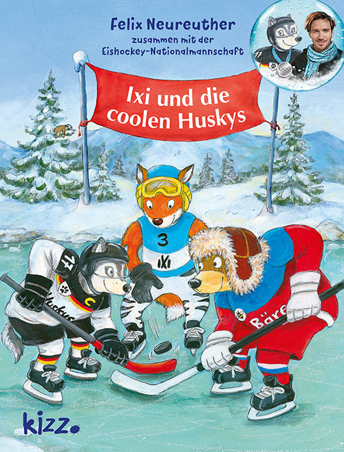 Ixi und die coolen Huskys: zusammen mit der Eishockey-Nationalmannschaft