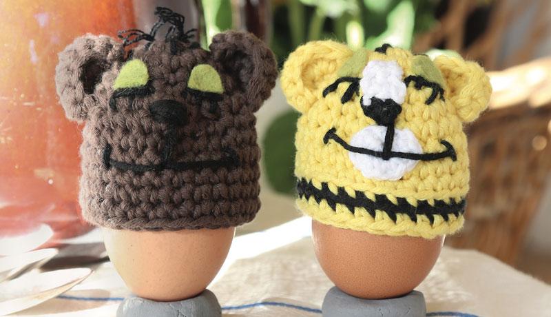 Lustige Eierwärmer: Häkeln mit Tiger & Bär
