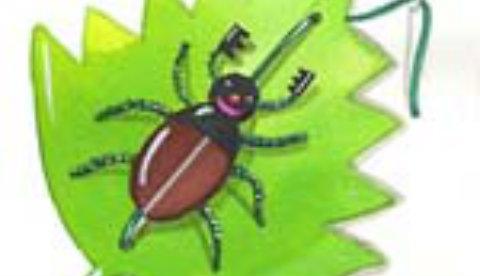 Lustiges Insekt aus Styropor: Krabbelnder Maikäfer