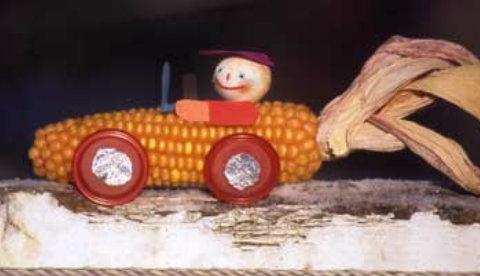 Spielidee mit Maiskolben: Kerniges Rennauto