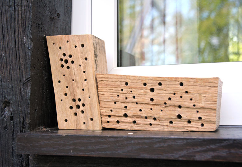 Nisthilfen für Wildbienen lassen sich ganz leicht aus Holzklötzen herstellen.