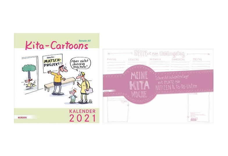 """Gewinnspiel: Wir verlosen fünfmal die Schreibtischunterlage """"Meine Kita-Woche"""" zusammen mit dem Kalender """"Kita-Cartoons 2021"""""""