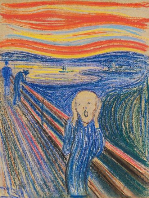 """Edvard Munch: """"Der Schrei"""", Pastell auf Pappe, 1895, 79 × 59 cm, Privatbesitz"""