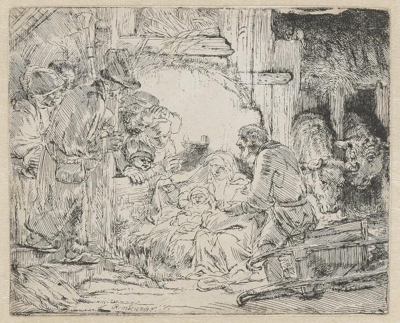 Rembrandt Harmensz van Rijn: Die Anbetung der Hirten mit der Lampe, um 1654, Radierung auf Bütten, 10,5 x 12,9 cm