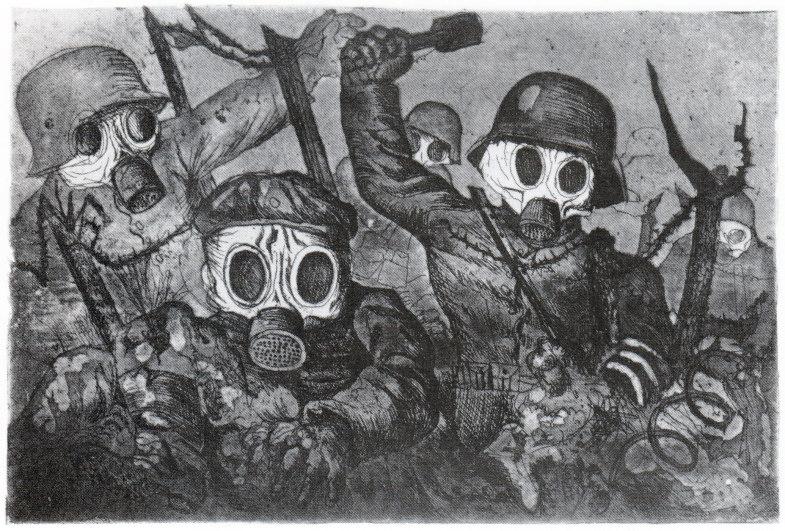 Otto Dix, Sturmtruppe geht unter Gas vor (Mappe II, 2), 1924, 196 x 291 mm
