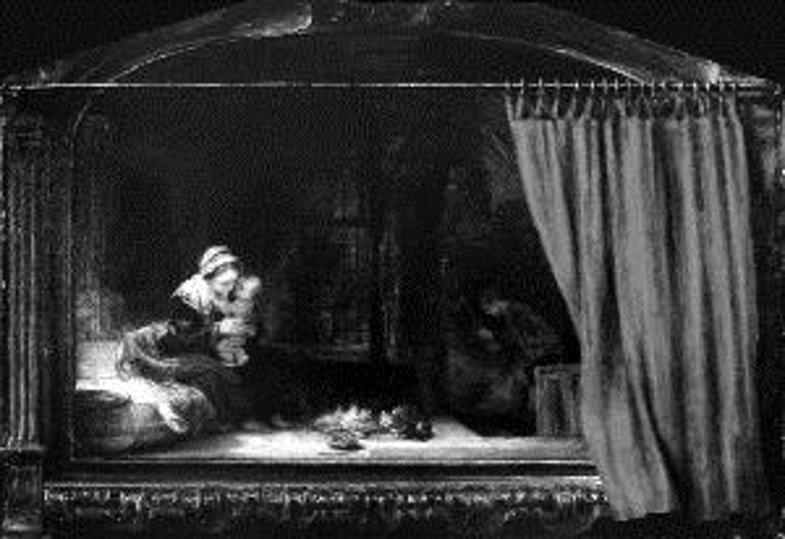 Rembrandt Hermanensz van Rijn, Die Heilige Familie mit dem Vorhang (1646)