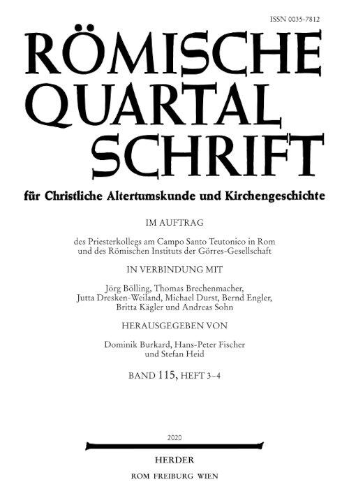 Römische Quartalschrift 3-4/2020