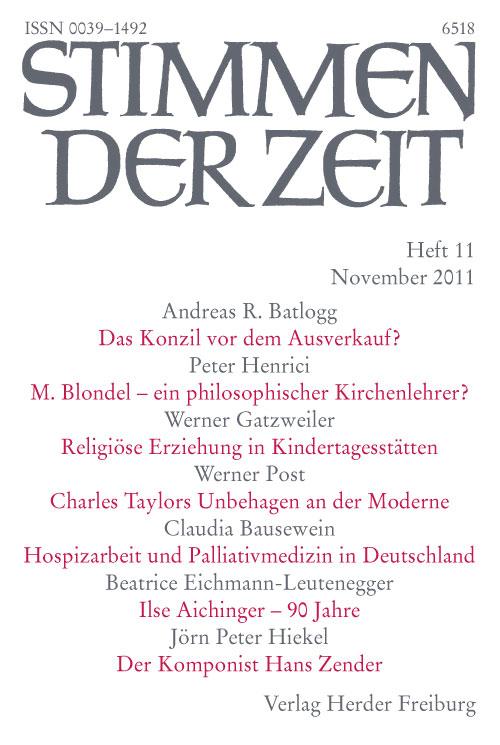 Stimmen der Zeit. Die Zeitschrift für christliche Kultur 136 (2011) Heft 11