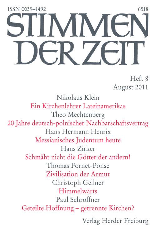 Stimmen der Zeit. Die Zeitschrift für christliche Kultur 136 (2011) Heft 8