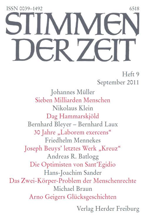 Stimmen der Zeit. Die Zeitschrift für christliche Kultur 136 (2011) Heft 9
