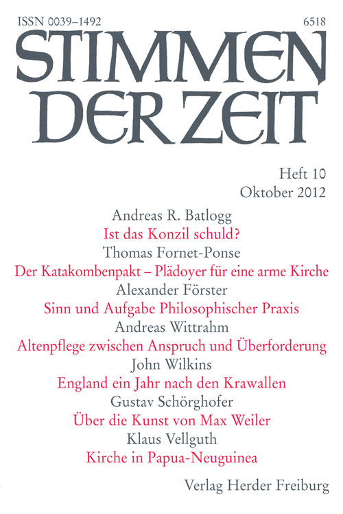 Stimmen der Zeit. Die Zeitschrift für christliche Kultur 137 (2012) Heft 10