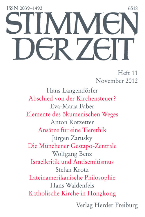 Stimmen der Zeit. Die Zeitschrift für christliche Kultur 137 (2012) Heft 11