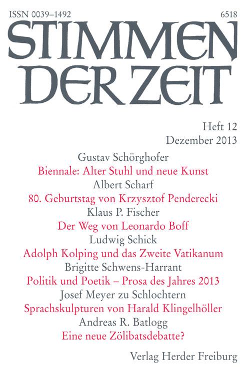 Stimmen der Zeit. Die Zeitschrift für christliche Kultur 138 (2013) Heft 12