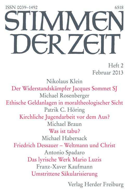 Stimmen der Zeit. Die Zeitschrift für christliche Kultur 138 (2013) Heft 2