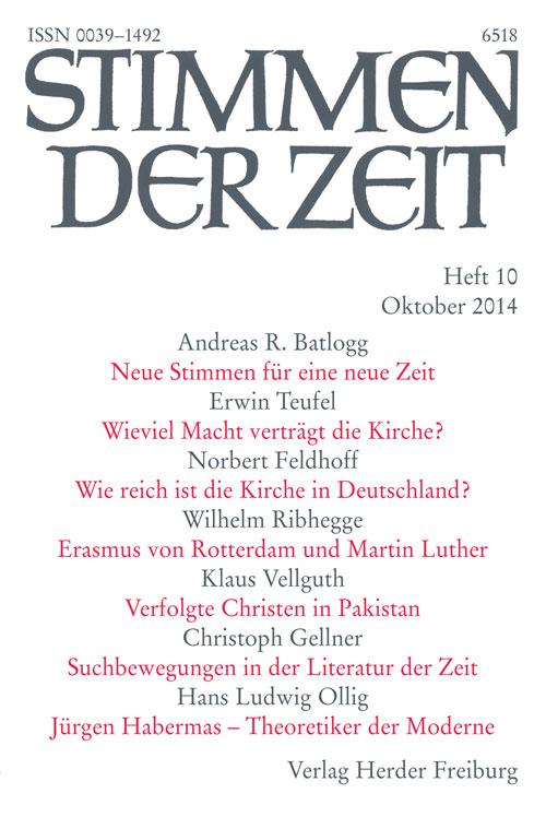 Stimmen der Zeit. Die Zeitschrift für christliche Kultur 139 (2014) Heft 10