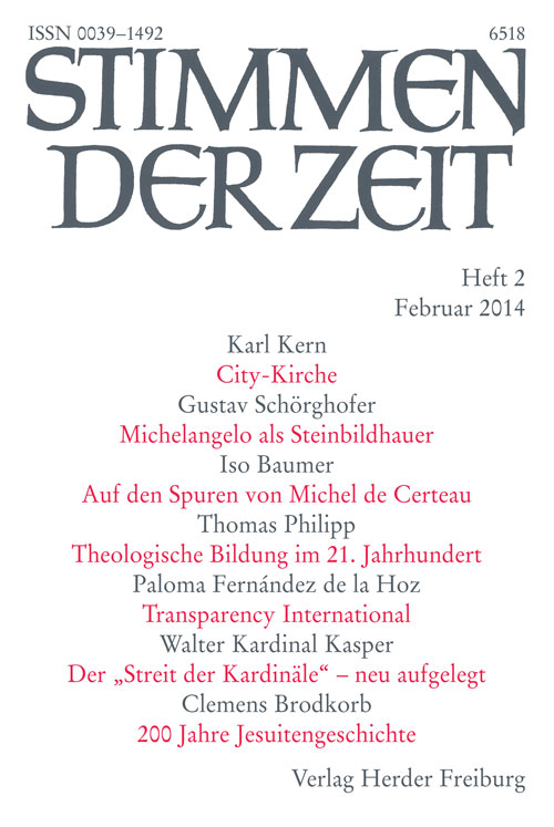Stimmen der Zeit. Die Zeitschrift für christliche Kultur 139 (2014) Heft 2
