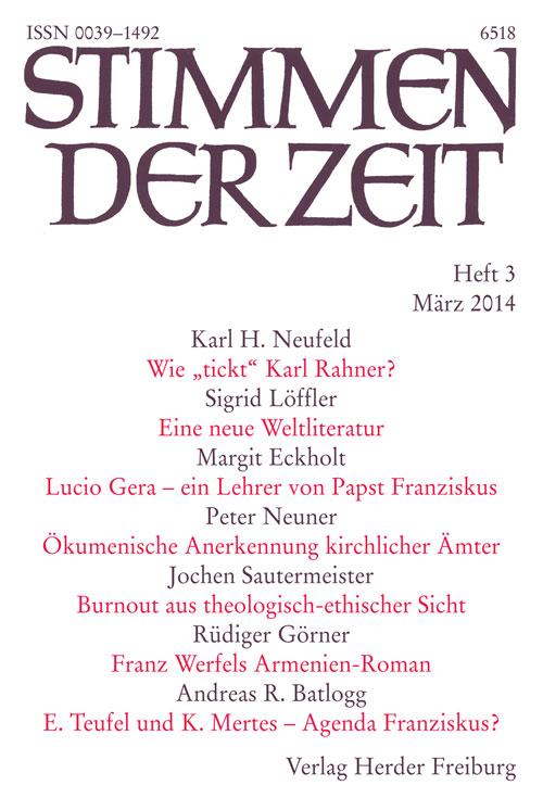 Stimmen der Zeit. Die Zeitschrift für christliche Kultur 139 (2014) Heft 3