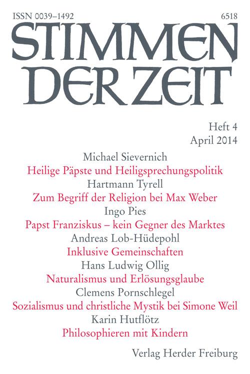 Stimmen der Zeit. Die Zeitschrift für christliche Kultur 139 (2014) Heft 4