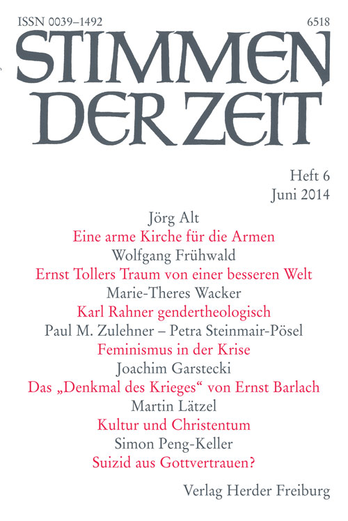 Stimmen der Zeit. Die Zeitschrift für christliche Kultur 139 (2014) Heft 6