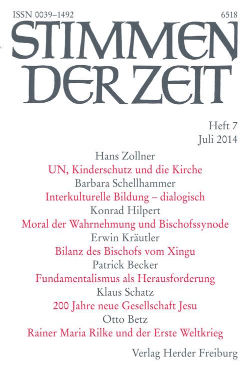 Stimmen der Zeit. Die Zeitschrift für christliche Kultur 139 (2014) Heft 7