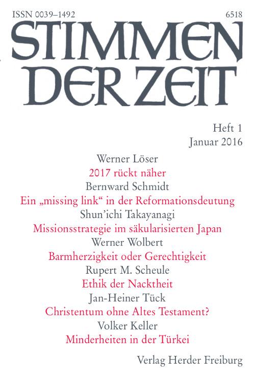 Stimmen der Zeit. Die Zeitschrift für christliche Kultur 141 (2016) Heft 1