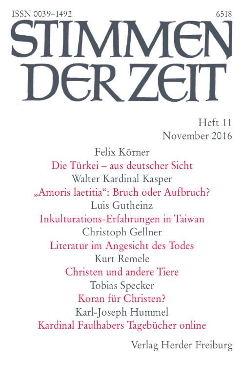 Stimmen der Zeit. Die Zeitschrift für christliche Kultur 141 (2016) Heft 11