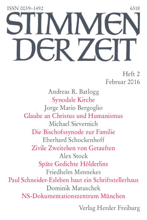 Stimmen der Zeit. Die Zeitschrift für christliche Kultur 141 (2016) Heft 2