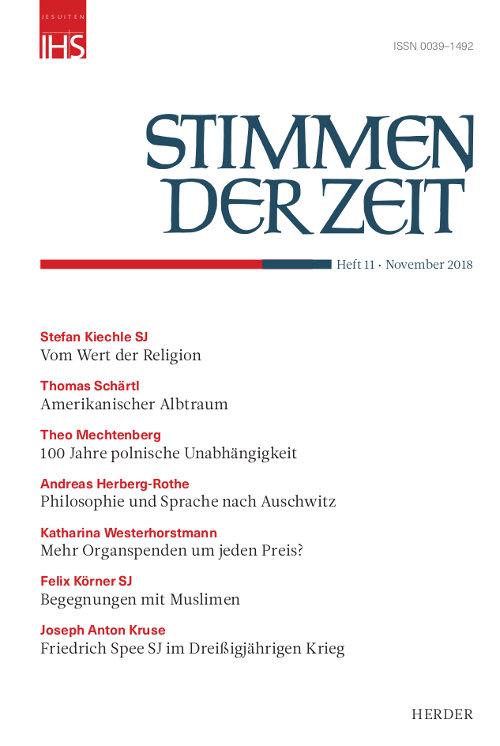 Stimmen der Zeit. Die Zeitschrift für christliche Kultur 143 (2018) Heft 11