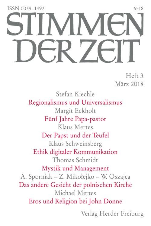 Stimmen der Zeit. Die Zeitschrift für christliche Kultur 143 (2018) Heft 3