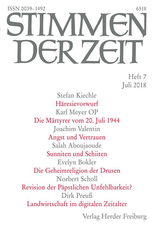 Stimmen der Zeit. Die Zeitschrift für christliche Kultur 143 (2018) Heft 7