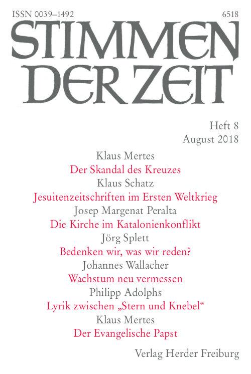 Stimmen der Zeit. Die Zeitschrift für christliche Kultur 143 (2018) Heft 8