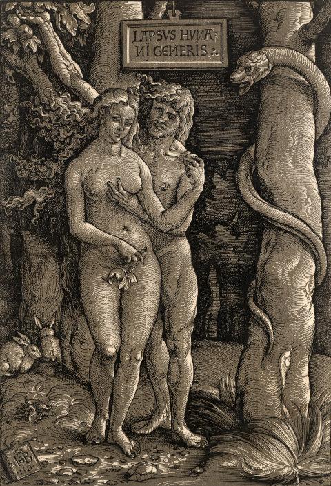 Der Sündenfall (1511) von Hans Baldung Grien. Obscur-Holzschnitt im Kupferstichkabinett der Staatlichen Kunstsammlungen Dresden. bpk/Herbert Boswank.