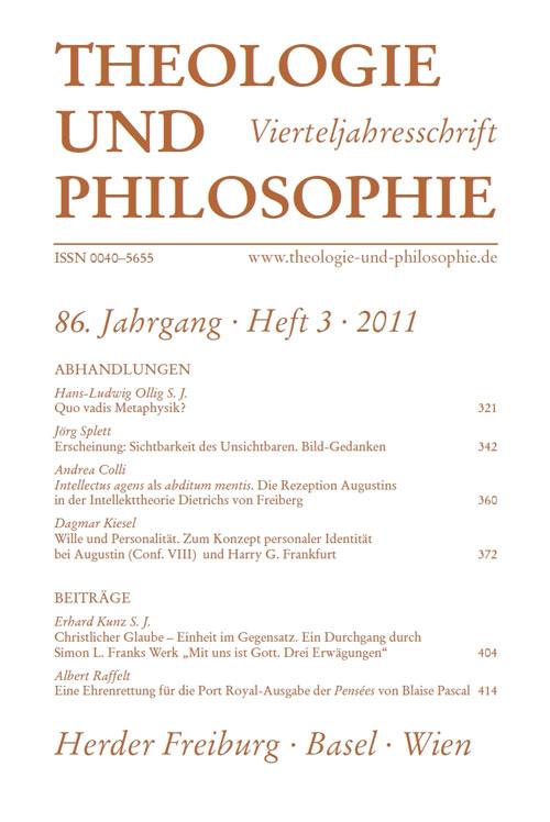Theologie und Philosophie. Vierteljahresschrift 86 (2011) Heft 3
