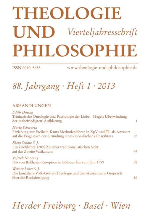 Theologie und Philosophie. Vierteljahresschrift 88 (2013) Heft 1