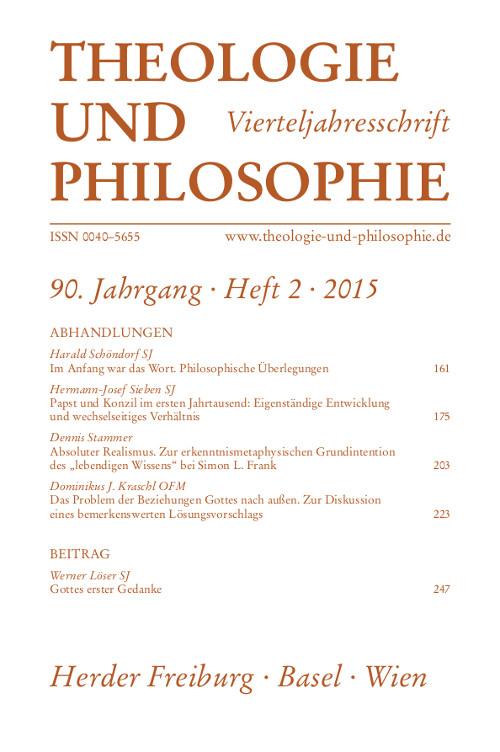 Theologie und Philosophie. Vierteljahresschrift 90 (2015) Heft 2